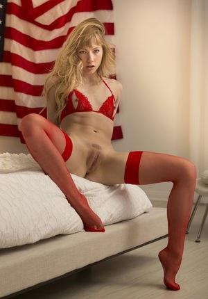 Молодая американка в красном белье и чулочках позирует на фоне флага